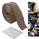 10M Hitzeschutzband Auspuffband Krümmerband Thermoband Hitzeschutz für Motorrad Auspuff (Braun)