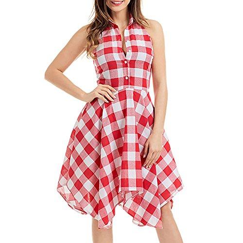 SG Überprüft Flared Shirt Kleid Hemdkragen ärmellos Knielänge Stecktaschen Kleid Rote weiße Gitter