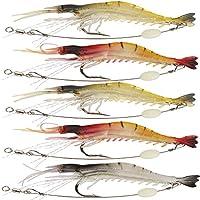 Gaining ® 5pcs / Lot artificial de silicona suave cebo luminoso camarón mixto de color Crank-cebo señuelo de la pesca con gancho de pesca trastos
