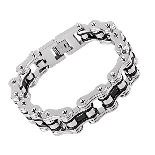 Heyrock Biker 316L Stainless Steel Mens Bracelet Fashion Sports Jewelry Bike Bicycle Chain Link Bracelet Casual Jewellery (Black and Silver)