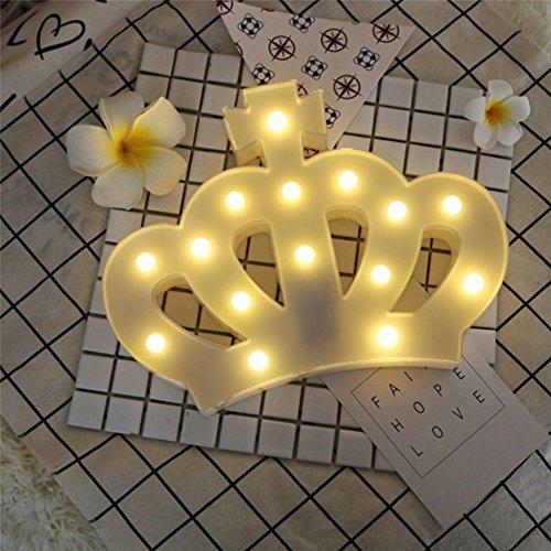 QiaoFei 3D-Krone Festzeltschild Licht, LED Queen Princess Kings Form beleuchtet, Wanddekoration für Chistmas, Geburtstagsparty, Kinderzimmer, Wohnzimmer, Hochzeit, Party-Dekoration ()