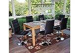6x Stuhl Esszimmerstühle Chrom Design Kunstleder 6er Set schwarz Stühle moderne