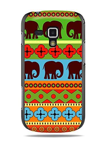 """GRÜV Premium Case - Design """"Afrikanische Elefanten, Tribalkunst"""" - Qualitativ Hochwertiger Druck Schwarze Hülle - für Samsung Galaxy S Duos S7562 Trend S7560"""