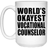 Best Counselor Mugs - World's Okayest Vocational Counselor - 15 Oz Coffee Review