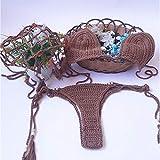 LITIANTIAN-Swimsuit Bikini Traje Traje de baño Sexy Calado Femenino para Mujeres, natación(Color: Color café, tamaño: S-L)