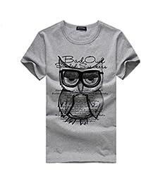 [M-2XL], Herren Premium Eule Druck T-Shirt Kurzarm Shirt   Yogogo Casual Basic Rundhals T-Shirt   Tshirt Herren Slim Fit   Einfarbige Valueweight T-Shirt   Herren Hemd Slim Fit