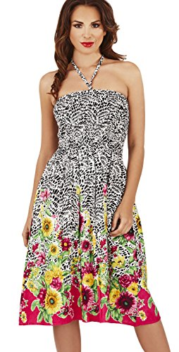 Ladies Sunflower/Mosaic Print 3 in 1 Summer Bandeau Dress/Maxi Skirt, Black/Pink, Small