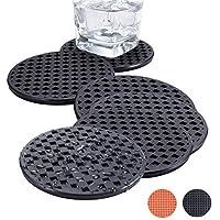 BasicForm Posavasos de Silicona Redondos 10cm Diseño Mate y Borde Brillante (Set de 6-Negro)
