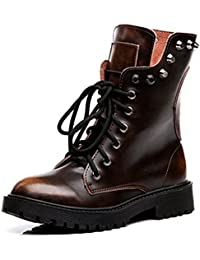 OALEEN Bottes Classique Femme Cuir Hiver Chaudes Clous Chaussures Bottines  Montantes Soldes 38 39 (Commandez Une Taille au… 807c76eff9f1