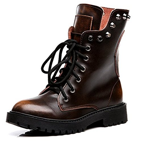 OALEEN Bottes Classique Femme Cuir Hiver Chaudes Clous Chaussures Bottines Montantes Soldes 38 39 (Commandez Une Taille au Dessus !!!)