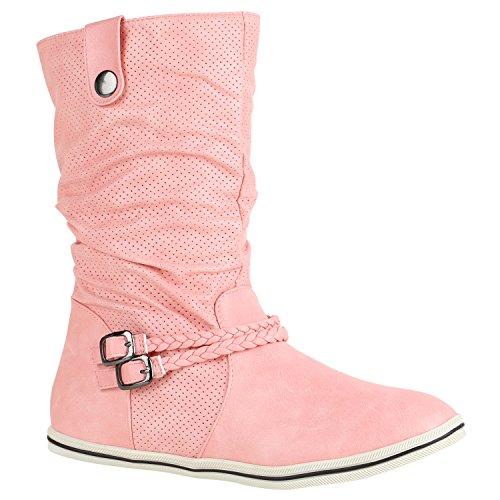 Stiefelparadies Bequeme Damen Stiefel Flache Schlupfstiefel Boots 151489 Rosa Amares 38 Flandell