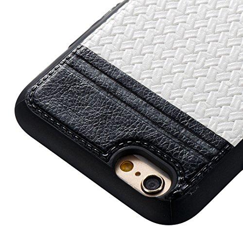 Case pour iPhone 6 Plus / 6S Plus, Asnlove Soft Silicone TPU Housse Lignes Tressées Cover Souple Ultra Mince Étui Couleur Pure Tisser Style Coque Antichoc Cas pour iPhone 6 Plus/6S Plus - Blanc Blanc