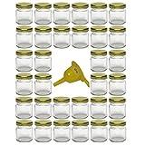 Viva Haushaltswaren - 32 x Mini Einmachglas 53 ml mit goldfarbenem Deckel, runde Glasdosen als Marmeladengläser, Gewürzdosen, Gastgeschenk etc. verwendbar (inkl. Trichter Ø 12,3 cm)