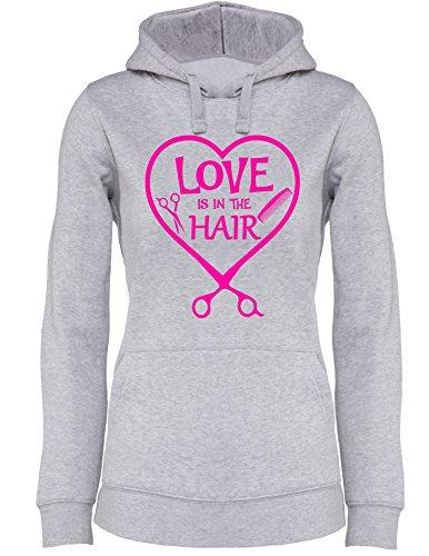 Love is in the Hair - Damen Hoodie Grau/Neonpink