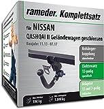 Rameder Komplettsatz, Anhängerkupplung abnehmbar + 13pol Elektrik für Nissan Qashqai II Geländewagen geschlossen (143052-11757-1)