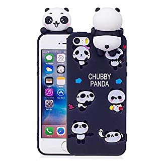 Aeeque iPhone 5S Cover Black, iPhone SE 3D Candy Color Cute Pandas Design and Slim Fit Soft Gel Silicone Flexible Back Bumper [Shockproof] Protection Case for iPhone 5/5S/SE