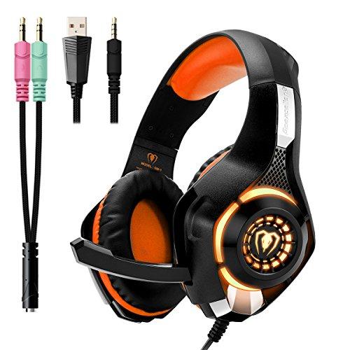 Produktbild Beexcellent Gaming Headset für PS4 PC Xbox One,  LED Licht Bass Stereo 3.5mm Professional Kopfhörer mit Mikrofon für Laptop Mac Handy Tablet NS