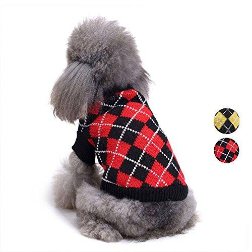 Chic Argyle All Over Hundepullover, Gelb Schwarz Argyle Hundebekleidung stricken Pullover Bekleidung für für Teddy, Mops, Chihuahua, Shih Tzu, Yorkshire Terrier, Papillon von HongYH