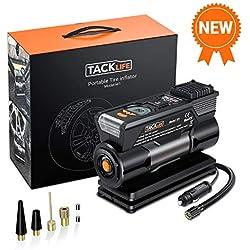TACKLIFE Compresseur Voiture, 40L/Min Gonfleur Electrique, 12V 150PSI Mini Compresseur Portable avec Grand LCD Écran, LED Lampe - Bruit Faible