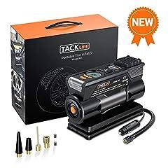 Idea Regalo - TACKLIFE M1 Compressore Portatile per Auto - 40L/Min Mini Pompa Elettrica a Basso Rumore, 150PSI Manometro Digitale Preciso, 120W DC12V, Preselezione e Spegnimento Automatico