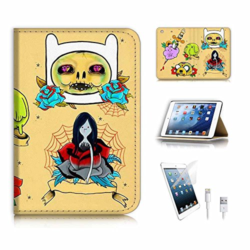 (für iPad Mini 1 2 3, Generation 1/2/3) Flip Wallet Schutzhülle & Displayschutzfolie & Ladekabel Bundle. A6647 Zombie Adventure Time