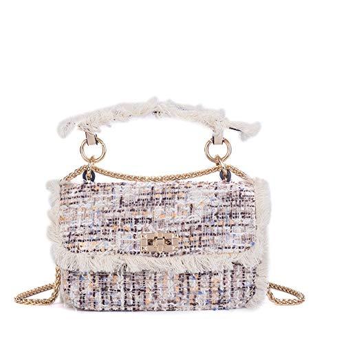Umhängetasche Damen,Lässige Mode Kleine Duft Portable Handtasche Kleine Quadratische Tasche Chain Crossbody-Tasche Elegante Temperament Multi-Funktion Schulter Messenger Tasche, Weiß -