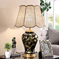 YangMi Table lamp- Vintage Ceramic Table Lamp Bedroom Bedside Lamp Jingdezhen Chinese Style Villa Living Room Study Fabric Decorative Table Lamp (Color : Black2)