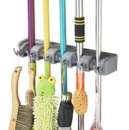 g, Besen Mop Halter mit 6 Haken und 5 Schnellspannern, Ordnungsleiste Wandhalter für Küche Badezimmer Garten Multifunktionen ()