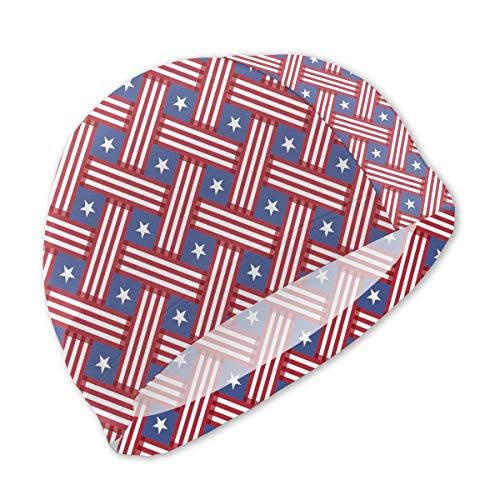 Schwimmhaube, USA Day Stars Plaid Stripe Swim Caps for Kids Boys and Girls Baby Bathing Caps for Long and Short Hair
