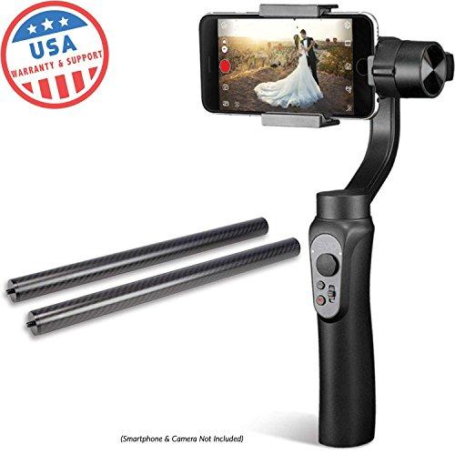Evo Shift 3Axis Handheld Gimbal für iPhone & Android Smartphones | Schwarz | 1Jahr Uns Garantie | Paket enthält: Evo Shift + 3K Carbon Faser Pole Set