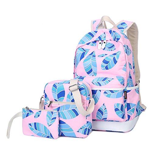 Blätter gedruckt Casual Canvas Rucksack Schultasche Laptop Tasche Rucksack für Jugendlich Junge Mädchen Pink Set