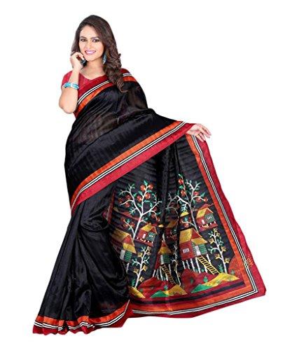 cotton sarees (Rangrasiya Women Cotton Silk Black Printed Saree)  available at amazon for Rs.249