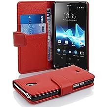 Cadorabo - Book Style Hülle für Sony Xperia T - Case Cover Schutzhülle Etui Tasche mit Kartenfach in INFERNO-ROT
