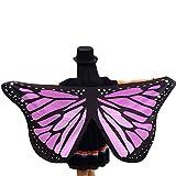 SHOBDW Damen Weiche Gewebe Schmetterlingsflügel Schal feenhafte Nymphe Pixie Halloween Weihnachten Karneval Cosplay Kostüm Zusatz Frauen Karneval Parade 145 * 65CM Schal Umhang