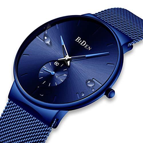 Herren Uhren Blau Männer Edelstahl Wasserdicht Mesh Uhr Einfacher Designer Analog Quarz Stilvolle Armbanduhren Luxus Geschäft Kleid Gents Klassische Uhren für Männer mit Sub Zifferblatt