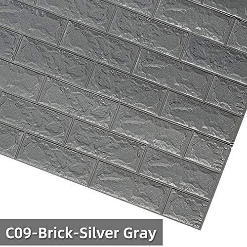 LZYMLG Carta da parati a grana di legno in pvc per cucina ricondizionata vestiti armadio guardaroba porta mobili per la decorazione home office wall sticker C09-Brick-grigio argenteo