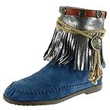 Angkorly Damen Schuhe Stiefeletten - Mokassin Stiefel - Fransen - String Tanga - Metallisch Blockabsatz 1.5 cm - Blau M885 T 39  - 51rtI 2BZs4uL - Mokassins –  Der Schuh der Indianer in der heutigen Zeit!