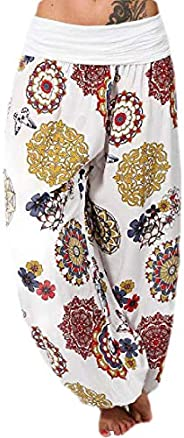GAGA Womens Comfy Yoga Lounge Wide Leg Pants Floral Print Harem Trousers