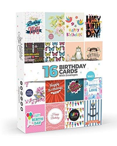 16x Geburtstagskarten von Joy MastersTM Vol. 1| Multipack für Herren & Damen