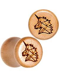 BodyCandy 2Pc Orgánico Madera Haya 8mm Montura Pendientes Calibre Pieza Geométrico Unicornio Tapón para Oídos Dilataciones