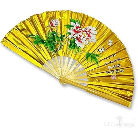 Naturaleza Mango de madera de bambú plegable Fan Tai Ji Kung Fu Artes Marciales & Dancing Prop con un bonito estampado oriental imágenes on-peony-gold