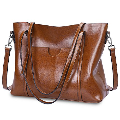S-Zone Women s Vintage 3-Way Genuine Leather Tote Shoulder Bag Handbag  Fashion Handbag 2d577521bbffd