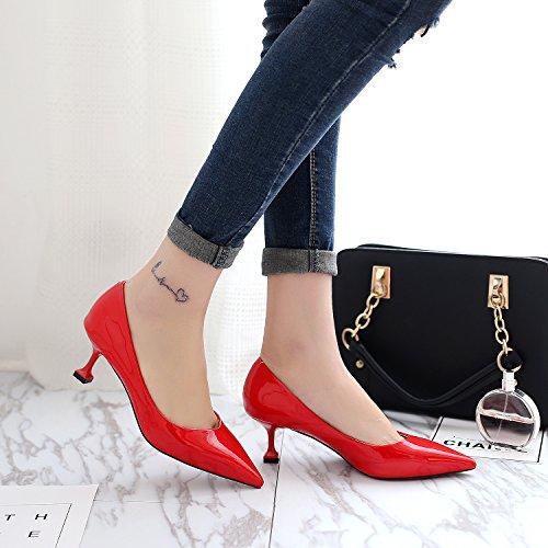 La punta della versione coreana di alta scarpe tacco punta tacco alto calzature donna bella con luce-simili. The Red