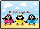 Set Einladungskarten Zum Kindergeburtstag Einladung Pinguin Jungen Mädchen Strand Sonne Gartenparty Schwimmen Schwimmbad Pinguine Geburtstagseinladung 12 Stück Poolparty Beach Pool Sommer Strandparty