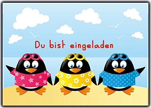 (Set Einladungskarten Zum Kindergeburtstag Einladung Pinguin Jungen Mädchen Strand Sonne Gartenparty Schwimmen Schwimmbad Pinguine Geburtstagseinladung 12 Stück Poolparty Beach Pool Sommer Strandparty)
