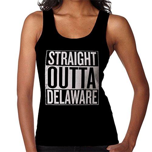 Coto7 White Text Straight Outta Delaware US States Women's Vest Black