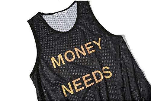 Pretty321 Men Women 3D Print Mesh Tank Tops Sleeveless Casual T-shirt Collection Money Needs Me Words Black