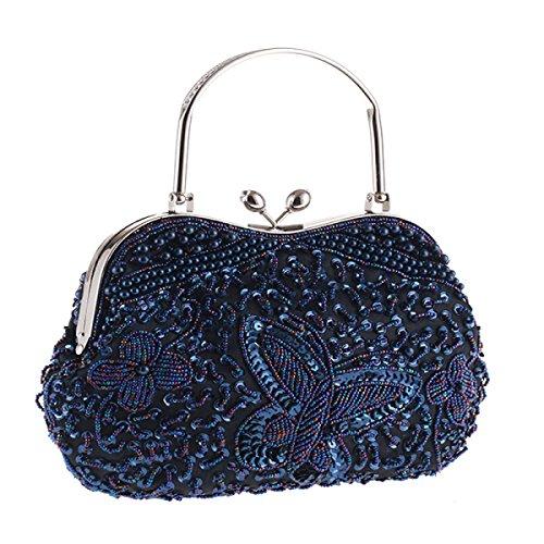 Perlen Hit Farbe Perlen Stickerei Pure Craft Paket Abendessen Classic Package Elegante Retro Bag Damen Handtasche Blue