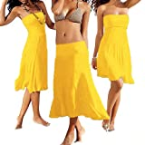 SSITG Sommer Kleid Rock Strandkleid Strandrock Sommerkleid Bikini Beach Strapless Summer Cover-Up Deep-V Swim-Wear Beach-Skirt