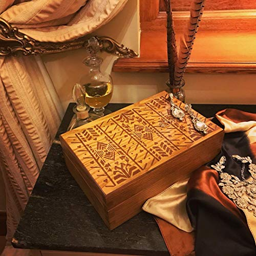Jewellery Box - Keepsake Box - Limited Edition Handmade Oak Gift with Feature Kings Cutlery Pattern Engraving